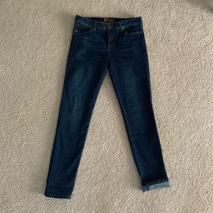 KUT from the Kloth mid rise dark wash skinny jeans